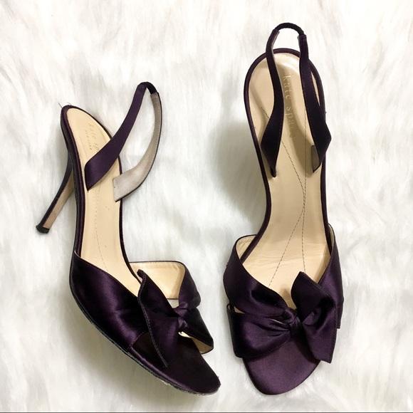 67f4a6a354d kate spade Shoes - Kate Spade Satin Sling Back Peep Toe Bow Heels
